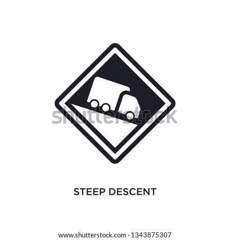 steep descent isolated icon. simple element illustration from traffic sign concept icons. steep descent editable logo sign symbol design on white background. can be use for web and mobile