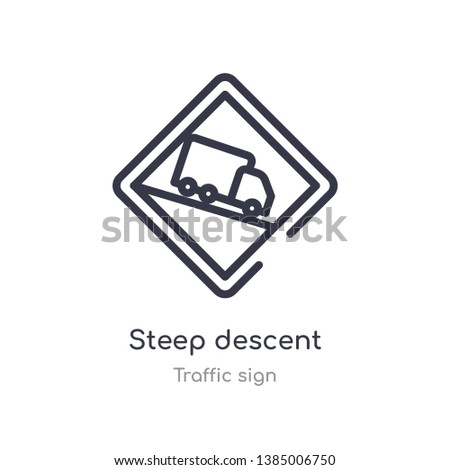 steep descent outline icon. isolated line vector illustration from traffic sign collection. editable thin stroke steep descent icon on white background