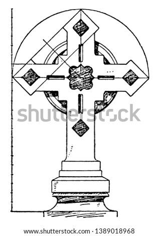 Steeple Cross is found in a commune in Paris ,beautiful, addition, steeple, church, building, vintage line drawing or engraving illustration.