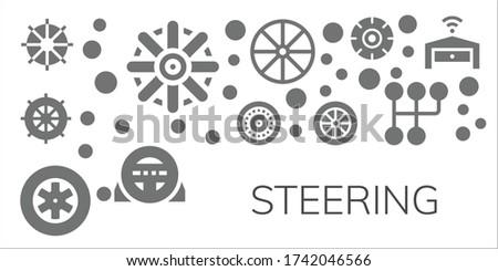 steering icon set. 11 filled steering icons. Included Steering wheel, Helm, Wheel, Wheels, Gearshift, Garage icons