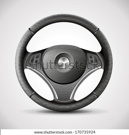 steering wheel, detailed realistic vector