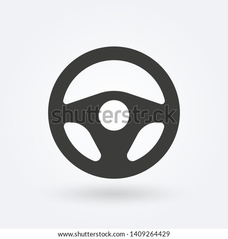 Steering wheel icon. Car and drive or driver symbol. Vector illustration.