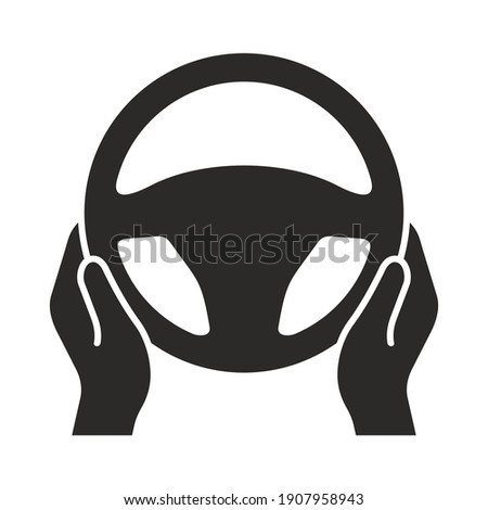 Steering wheel icon. Hands on steering wheel. Driver. Driving car. Test drive. Vector icon isolated on white background. Zdjęcia stock ©