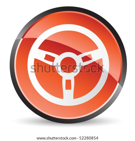 steering wheel icon in red color with shine