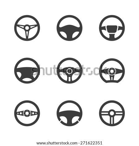 Steering wheel icons set.