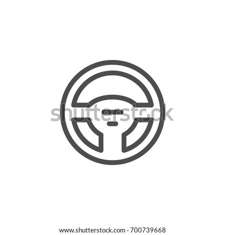 Steering wheel line icon
