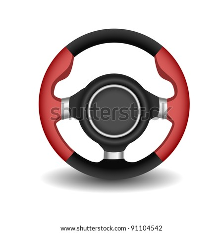 Steering wheel on a white