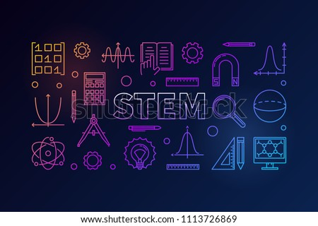 STEM creative colored banner in outline style. Vector science, technology, engineering, math linear illustration on dark background