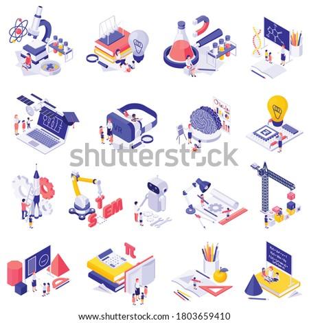 STEM education isolated icons set of science lab equipment robots mathematics figures isometric vector illustration