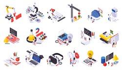 STEM education isometric icons set of science symbols books virtual reality glasses isolated vector illustration