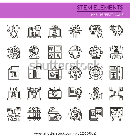 STEM Elements , Thin Line and Pixel Perfect Icons