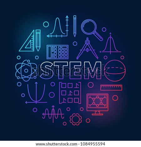 STEM round creative colored illustration in outline style. Vector science, technology, engineering, math circular linear symbol on dark background