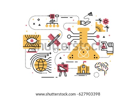 STEM (science,technology,engineering,math) education line icons illustration. Design in modern style with related icons ornament concept for website, app, web banner.
