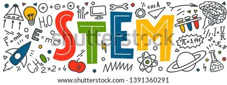 STEM. Science, technology, engineering, mathematics. Science education doodles Foto d'archivio ©