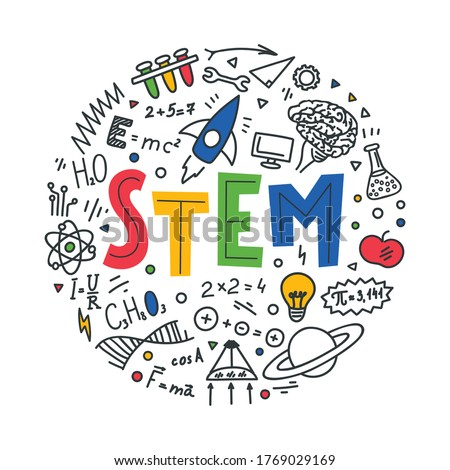 STEM. Science, technology, engineering, mathematics. Science education doodles and hand written word 'STEM' Photo stock ©