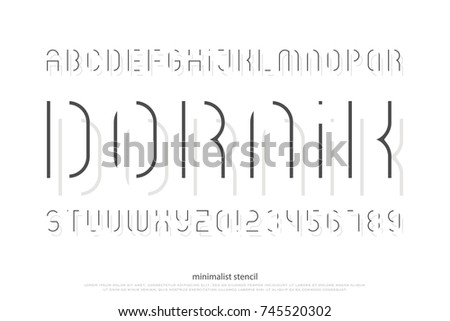 stencil alphabet letters and numbers. vector, light font type. regular typeface design. thin line, stylized typesetting
