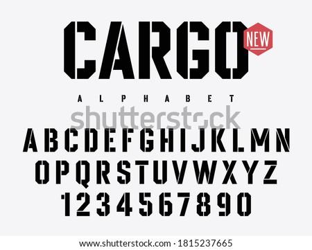 Stencil alphabet. Stencil-plate font in military style. Vectors