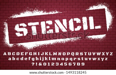 Stencil font. Graffiti spray painted alphabet, dirty textured lettering and grunge letters. Military abc and numbers, stamp type army scratched text. Isolated vector symbols set