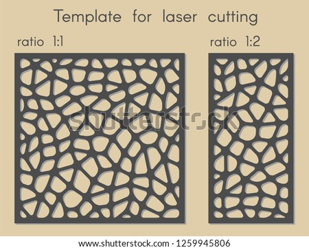 Stencil for panels of wood, metal. Template for laser cutting.  Polygonal geometric background for cut. Vector illustration. Decorative cards. Ratio 1:1, 1:2.