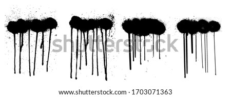 Stencil graffiti spray isolated on white background with black splashes with flowing lines of paint. Street art collection, spray template. Vector illustration Сток-фото ©