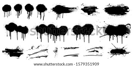 Stencil graffiti spray template. High quality tracing. Vector collection. Black splashes isolated on white background. Color dirty liquid. Very detailed set graffiti spray, street graffiti template