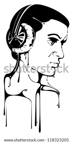 Stencil of a man listening to headphones