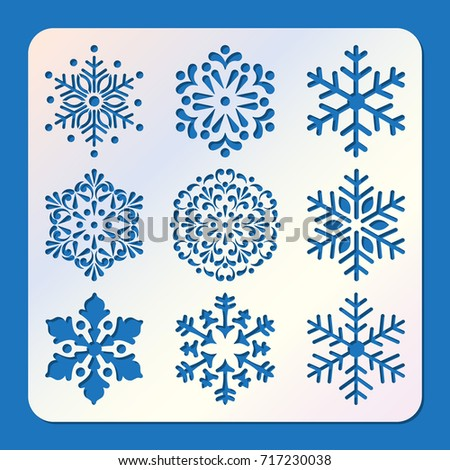 Stencil of snowflakes, laser cutting template. Pattern for decorative panel. Ornament background for Christmas and New Year greeting cards.