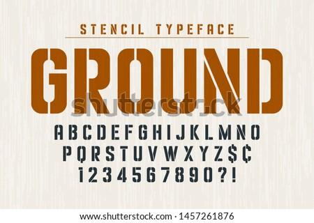 Stencil original condensed alphabet, creative characters set. Vector illustration