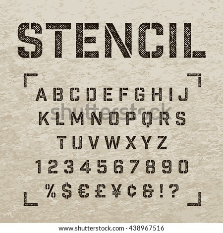 stencil plate alphabet with...