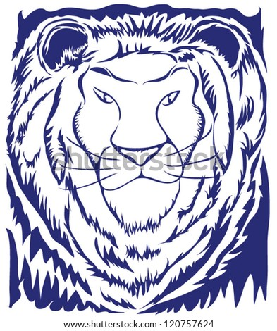Stencil type of illustration of a lion with great negative space and contrast.
