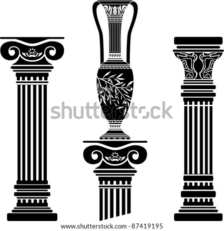 stencils of columns and hellenic jug. fourth variant. vector illustration