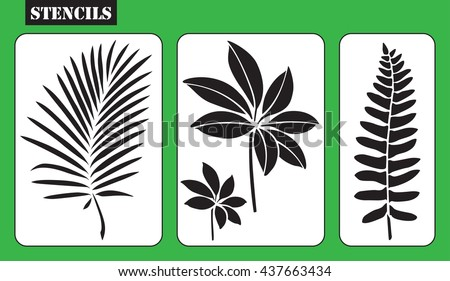 Stencils Set Of Tropical Leaves Stencil Fern Leaf Palm