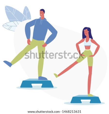 Step Aerobic Classes Flat Vector Illustration. Male and Female Fitness Trainers Workout Cartoon Characters. Man and Woman, Wearing Sportswear, Exercising in Gym. Healthy Lifestyle, Cardio Training