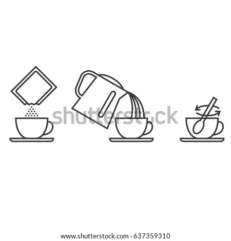 Step brewing instant powder for drink such as collagen, instant tea, cocoa, coffee, milk, outline design vector illustration