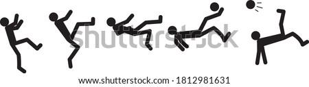 Step by step bicycle kick. Beach soccer bicycle kick, overhead kick or scissors kick. Football vector illustration theme.