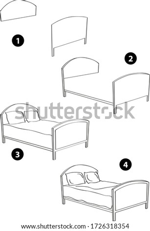 Step by step drawing learning techniques, objects set workbook for kids isolated background. Vector illustration bed