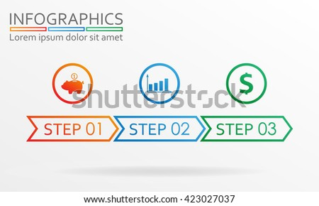 Step by step info graphics. Three steps infographics template. Vector illustration.