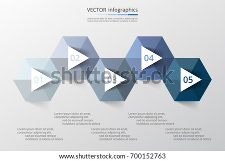 Step by step infographic. Template with 5 numbers and text can be used for workflow layout, diagram, chart, number options, web design, business presentation, trainings.