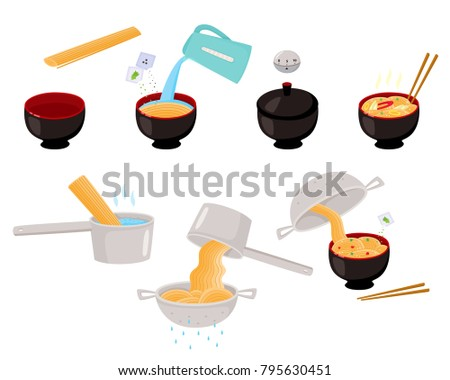 Step by step instant and udon noodle cooking instructions, vector illustration isolated on white background. Step by step instructions on cooking Asian, Chinese, Japanese noodle, flat vector set