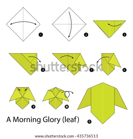 Step By Instructions How To Make Origami A Morning Glory Leaf
