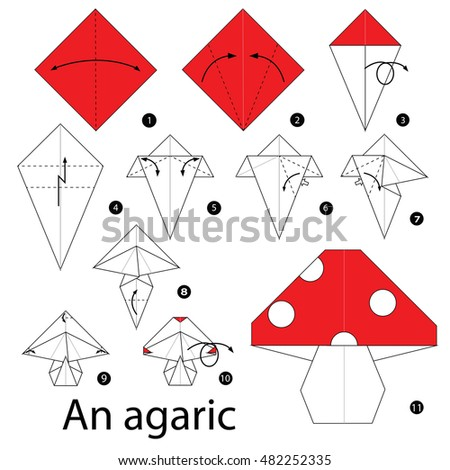 Step by step instructions how to make origami A Mushroom..