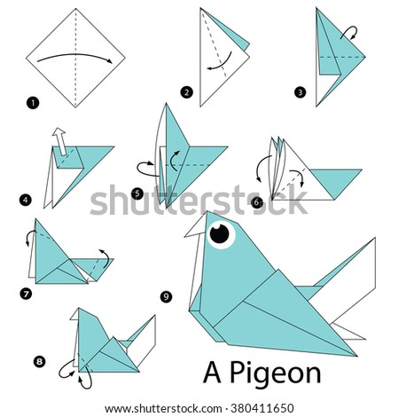 Step by step instructions how to make origami a pigeon for Origami swan easy step by step