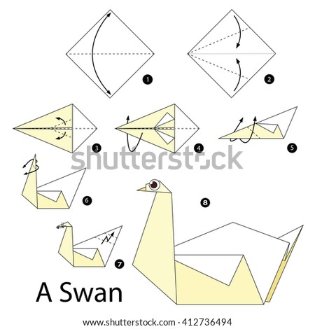 Royalty free step by step instructions how to make for Origami swan folding instructions