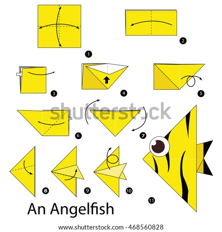 Step by step instructions how to make origami An Angelfish.