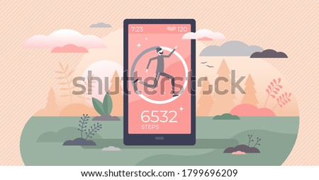 Step counter and pedometer activity app measurement tiny persons concept. Sport tracker and heart rate monitoring device with daily footsteps information vector illustration. Exercise distance data. Сток-фото ©