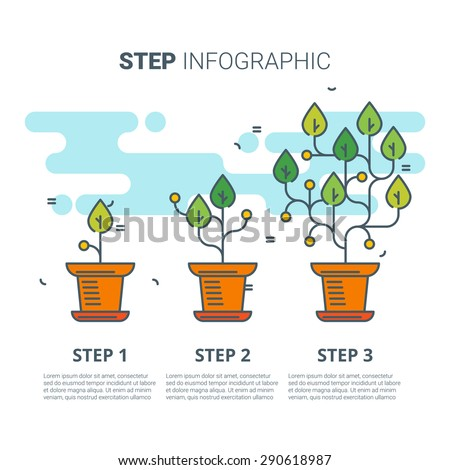 Step infographic with plants. Growing concept. Vector line art illustration.Infographic vector. step Infographic. Grow infographic. Plant infographic. Growing infographic. Vector infographic