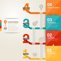 step ladder to success with flat design layout