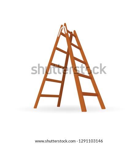 Step Ladder. Wood step ladder vector illustration. Wooden ladder icon. #1291103146