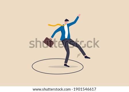 Step out of comfort zone or safe zone, dare to walk your own way or manage to exit from routine job to start new business journey concept, brave businessman step out of comfort circle for new success. Imagine de stoc ©