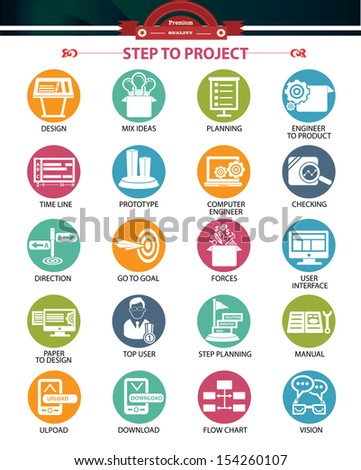 Step to project and Business concept icons,Colorful version,vector